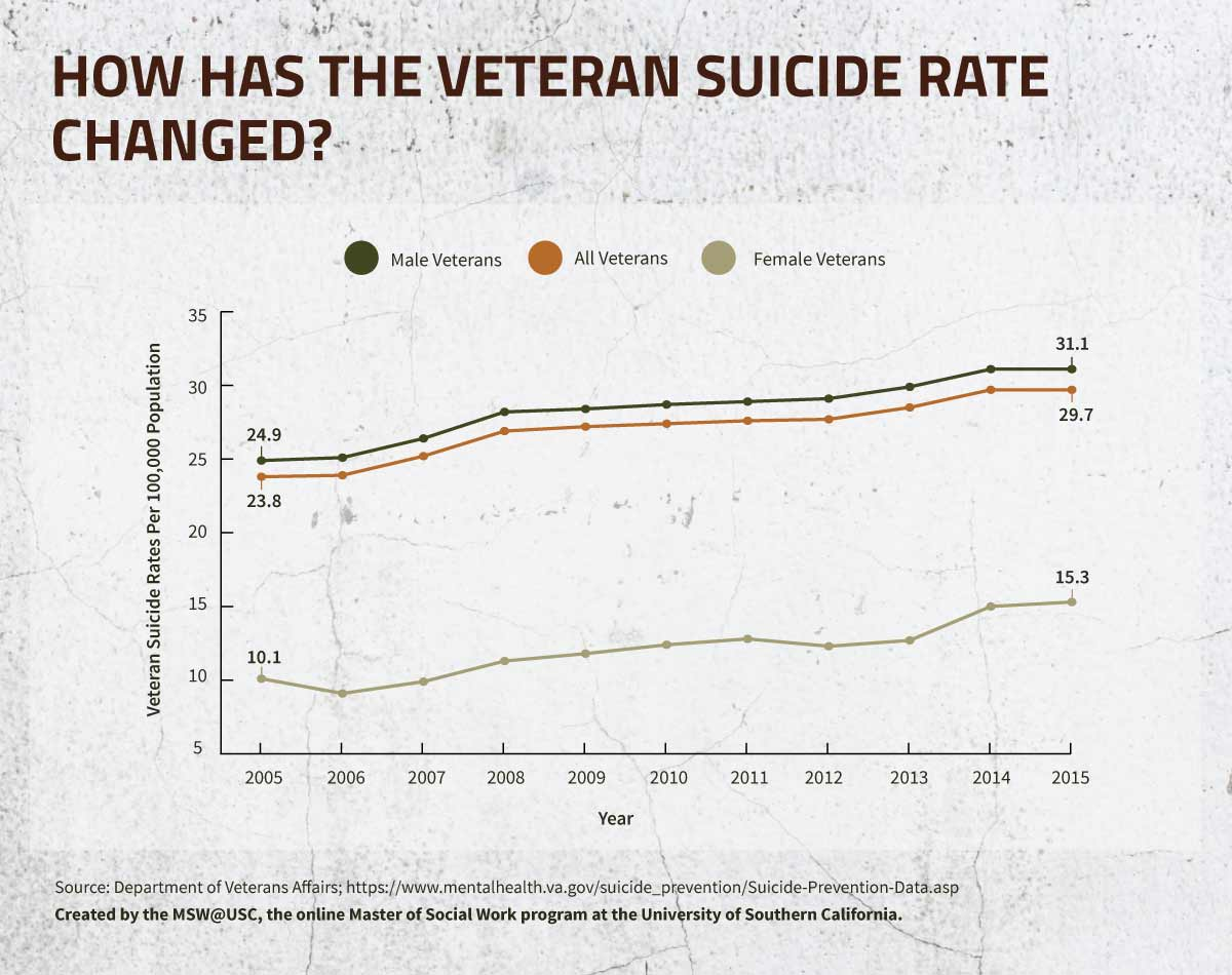How Has the Veteran Suicide Rate Changed infographic.