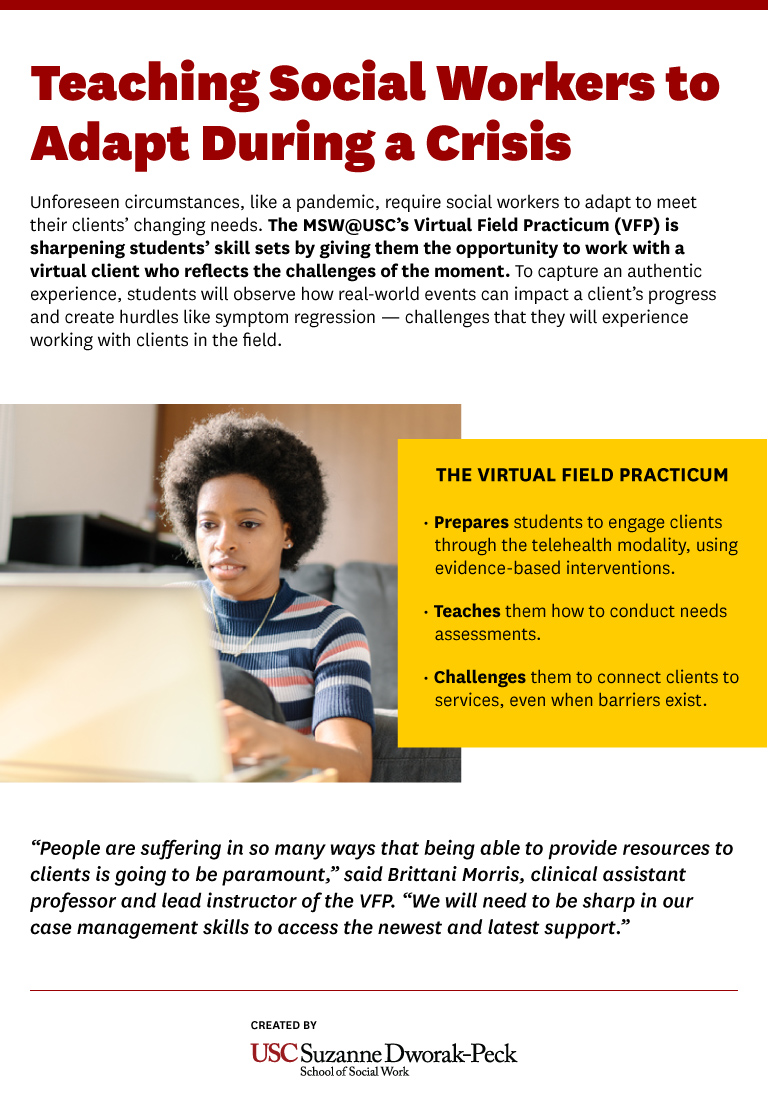 Infographic explaining benefits of the adapted Virtual Field Practicum.