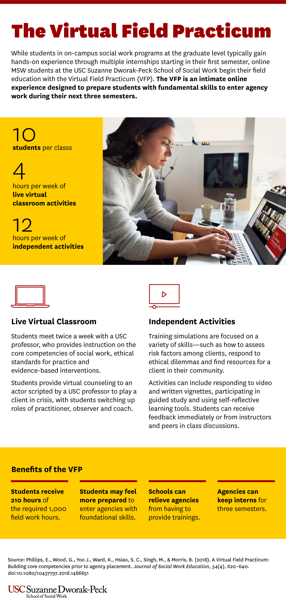 Infographic explaining the components and benefits of the Virtual Field Practicum.